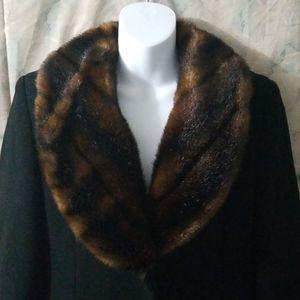 Ralph Lauren black wool fur collar maxi coat sz 4